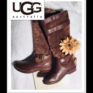 UGG Leather/Suede Fur-Lined Riding Boots sz 6